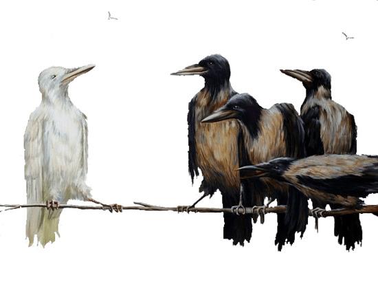 Белая ворона в стае чёрных птиц